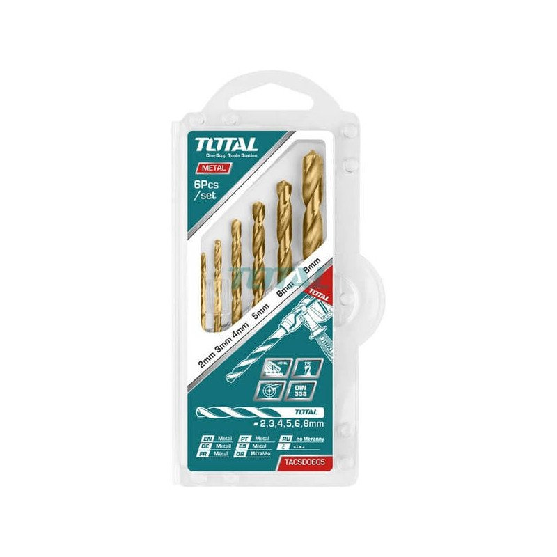 Set Brocas Metal HSS 6 Piezas Total Tools TACSD0605