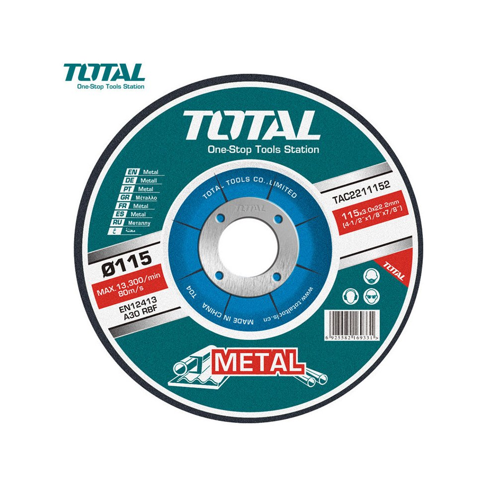 "Disco de Corte Metal 4-1/2"" (115x3.0x22.2mm) Total Tools TAC2211152"