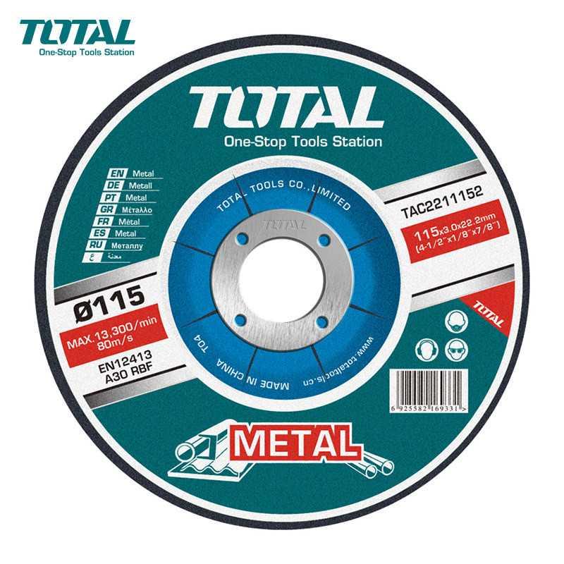 """Disco de Corte Metal 4-1/2"""" (115x3.0x22.2mm) Total Tools TAC2211152"""