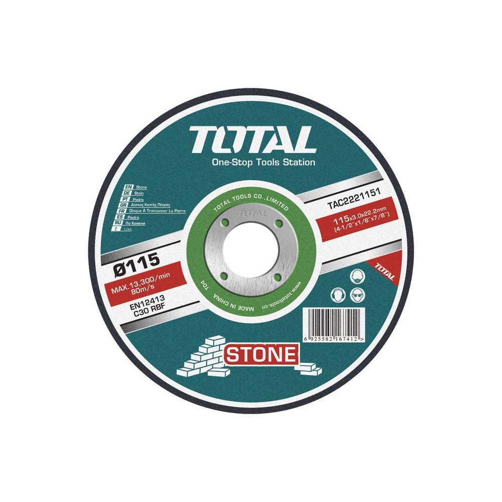 """Disco de Corte Piedra 7"""" (180x3x22.2mm) Total Tools TAC2221801"""