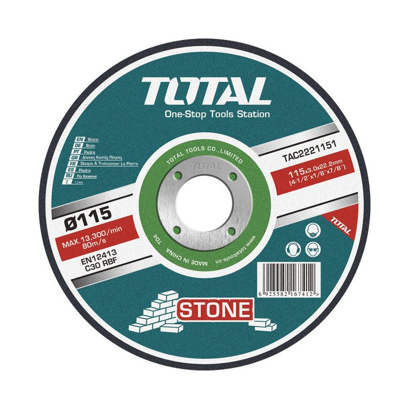 "Disco de Corte Piedra 7"" (180x3x22.2mm) Total Tools TAC2221801"