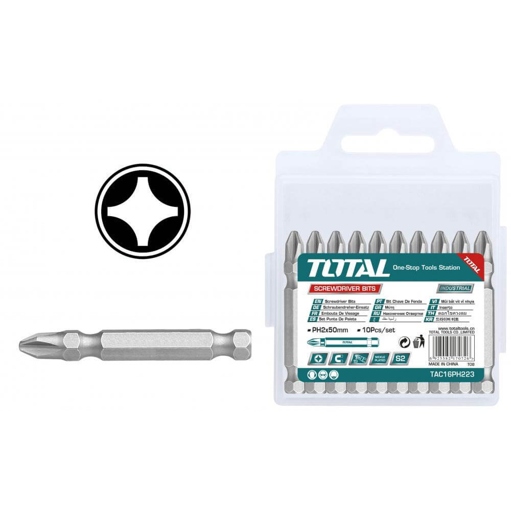 Puntas para Atornillar Phillips PH2 Simple 10 Pzs Total Tools TAC16PH223