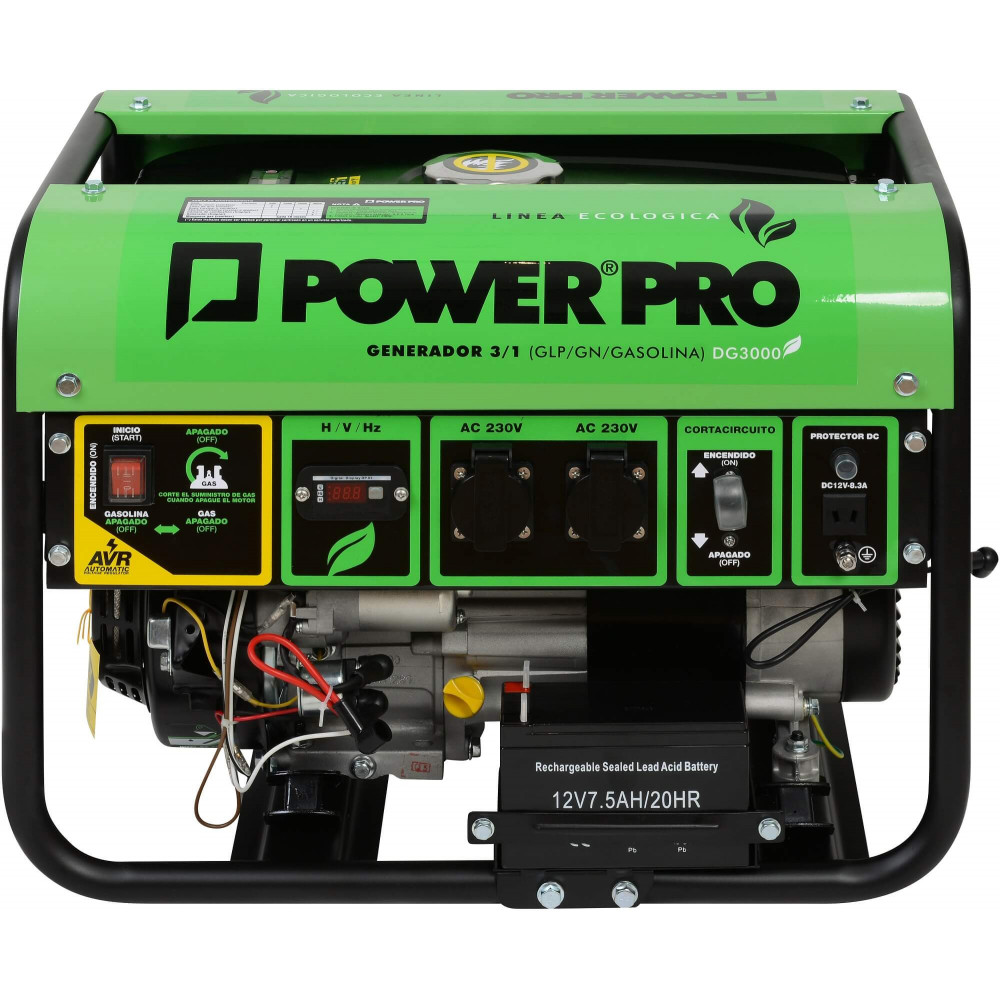 Generador a gas 3 en 1 (GLP/GN/Gasolina) 2.8 kva DG3000 Power Pro 600000630