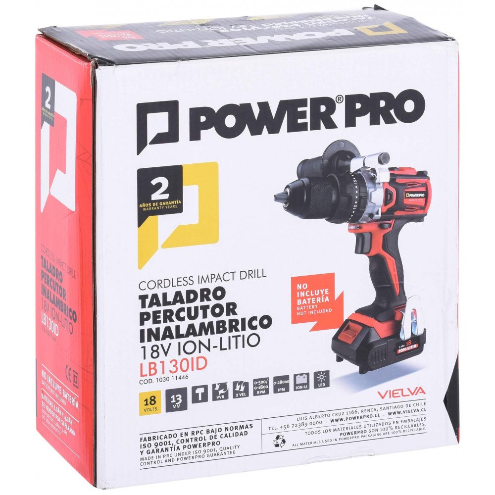 Taladro Atornillador Percutor Inalámbrico 13mm LB130ID Power Pro 103011446