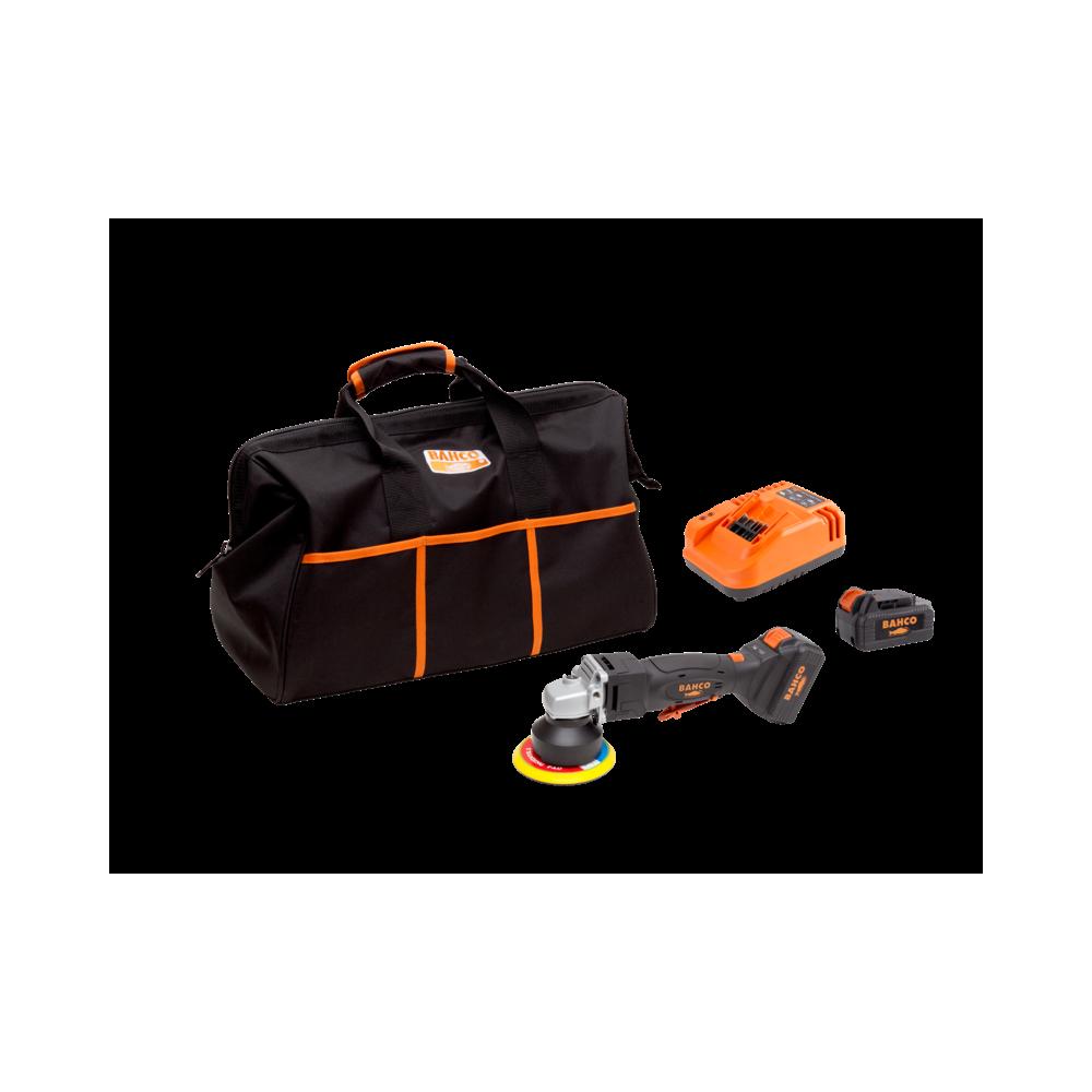 Pulidora orbital angular inalámbrica 18V + 2 Baterías + Cargador + Bolso Bahco BCL33AP1K1