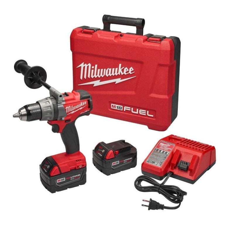 "Taladro Atornillador Inalámbrico 1/2"" 13MM M18 Fuel + 2 Baterías 5.0XC+ Cargador y Maleta Milwaukee 2703-259"