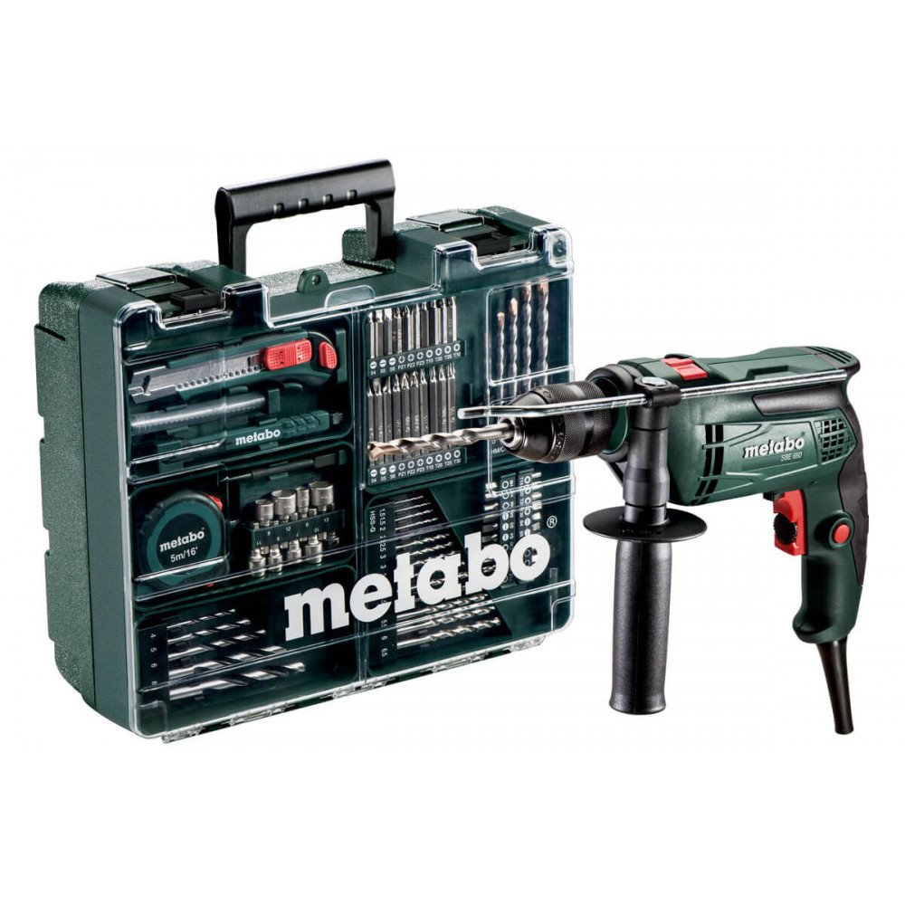 "Taladro Percutor 13mm (1/2"") 650W SBE650 + Accesorios y Maleta. Metabo 600671870"
