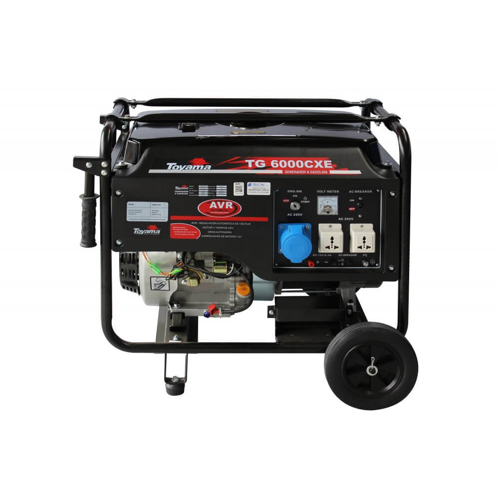 Generador Eléctrico Gasolina Partida Manual y Eléctrica 5500 W Motor 13 HP con Batería Toyama TG6000CXE1J-AB