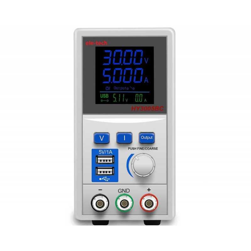 Fuente de Poder Digital ELE-TECH LCD simple 0-30V/5A y salida USB Poirot HY3005BC