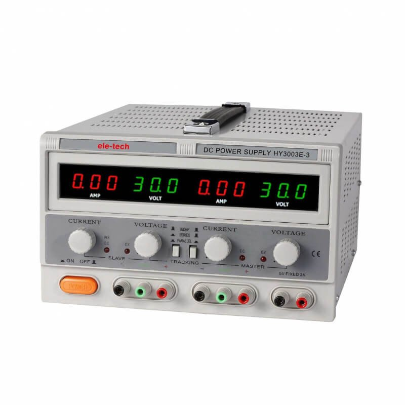 Fuente de Poder Digital Ele-Tech Doble Display Doble Led-0-30V/3A -5VDC/3A Poirot HY3003E-3