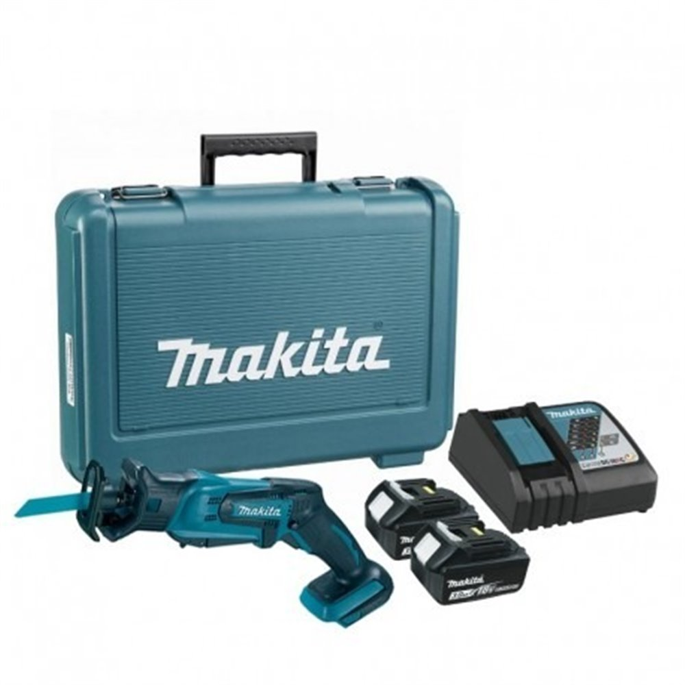 Sierra Sable Vel Variable 0-3000 Capacidad máxima corte 50 mm + 2 Bat 3.0 Ah + Cargador Makita DJR183RFE