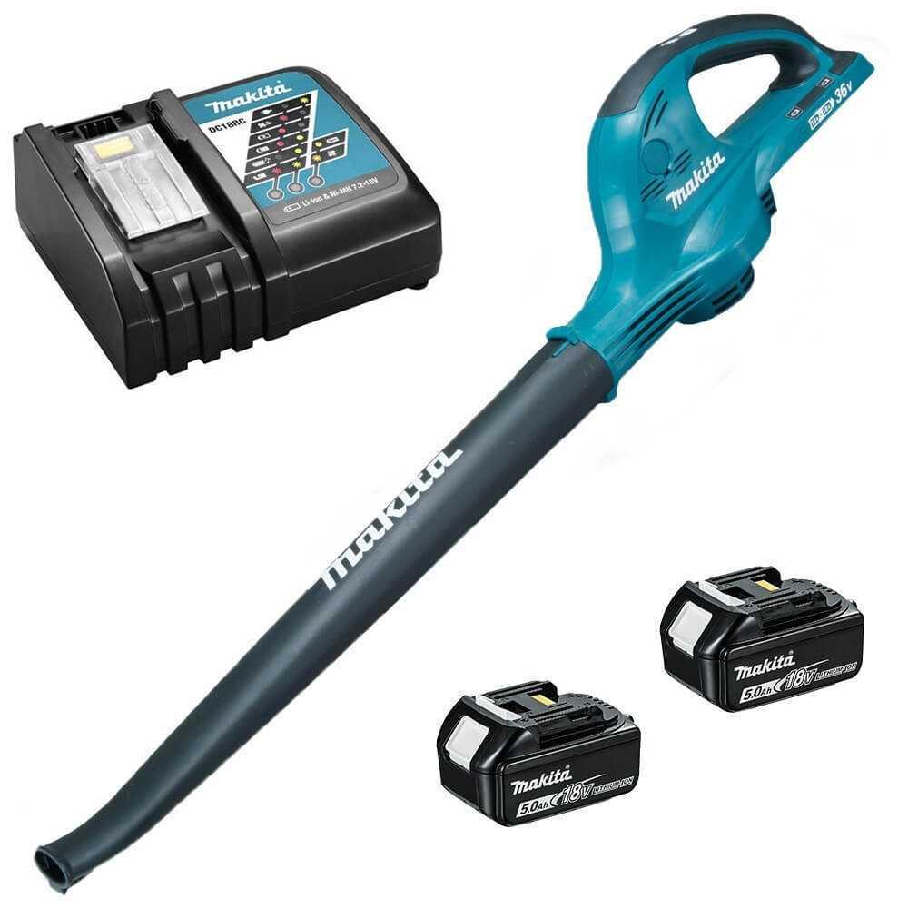 Soplador Inalámbrico 2 Velocidad + 2 Baterías 5.0Ah + Cargador Makita DUB361RT2