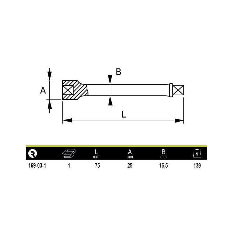 """Barra Extensión Alargadera de impacto 1/2"""" 75 mm Irimo 169-03-1"""