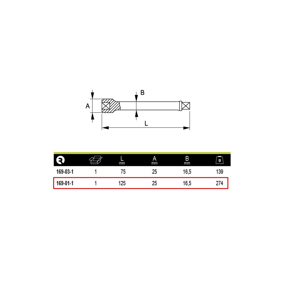 """Barra Extensión de impacto 1/2"""" 125 mm Irimo 169-01-1"""