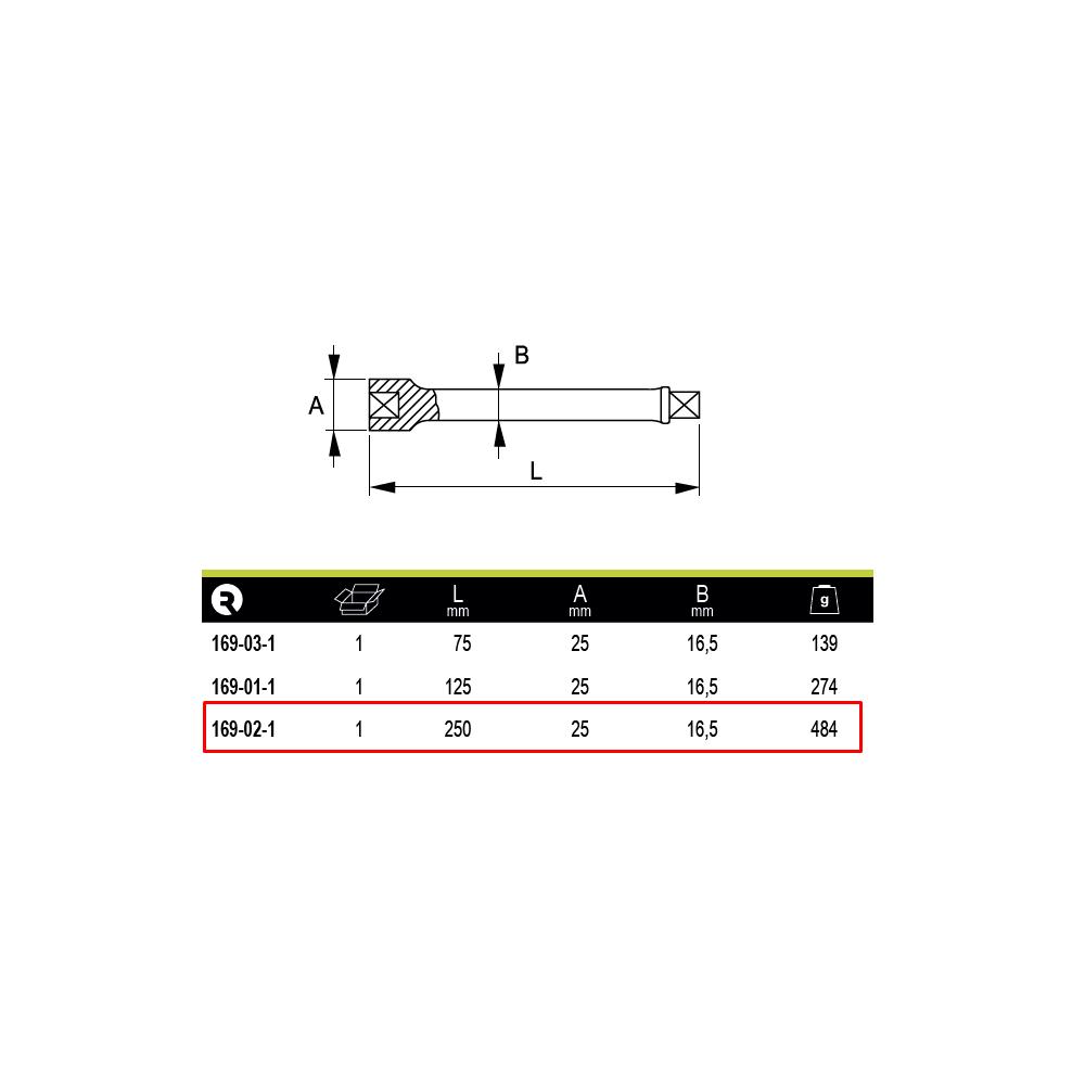 """Barra Extensión de impacto 1/2"""" 250 mm Irimo 169-02-1"""