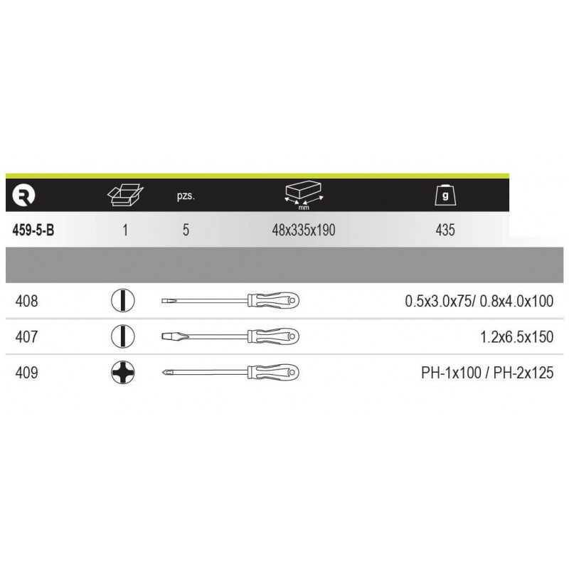 Juego de Destornilladores Plano-Phillips 5 piezasIrimo 459-5-B