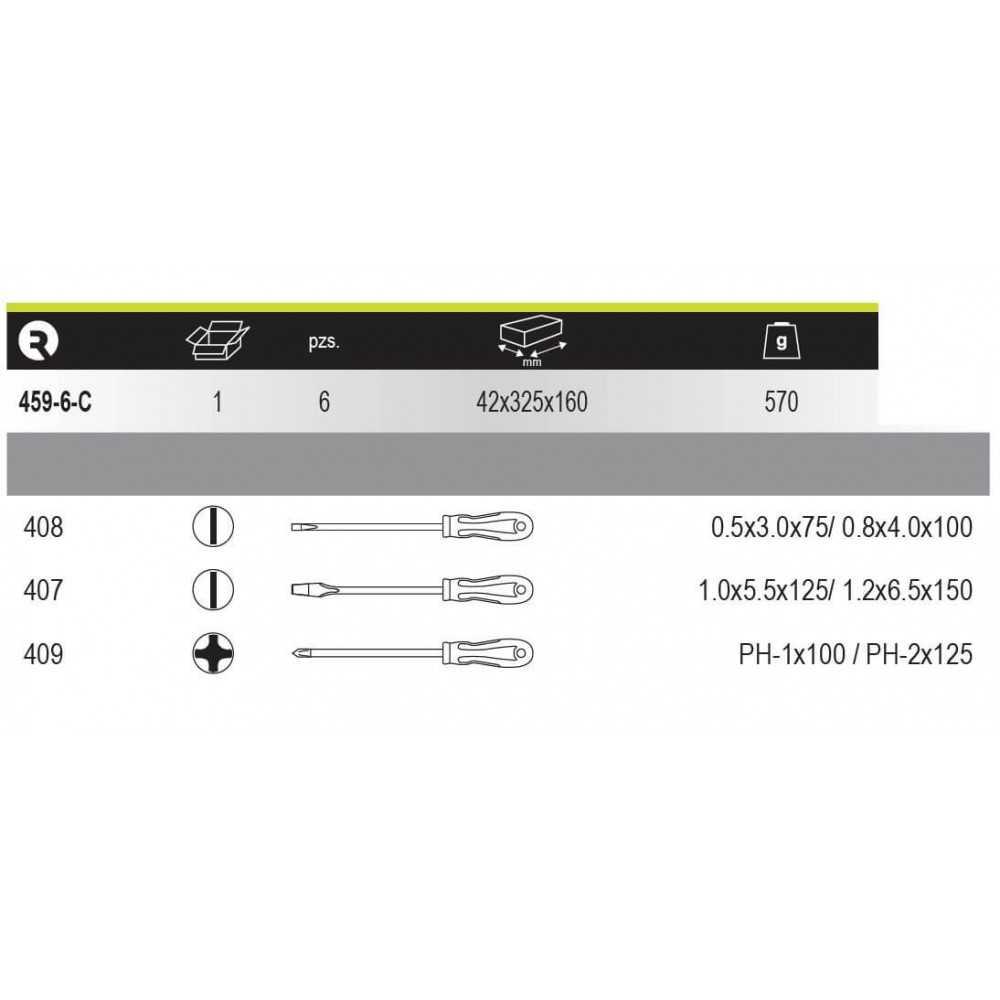 Juego de Destornilladores Plano-Phillips 6 piezas Irimo 459-6-C
