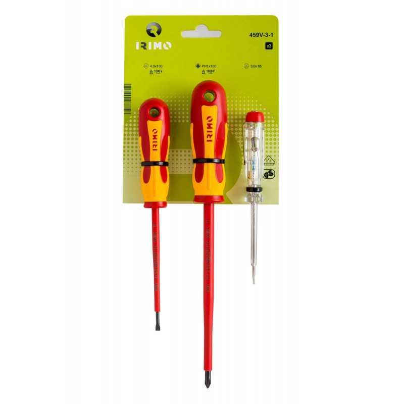 Set Atornilladores Aislados 2 piezas + tester Irimo 459V-3-1