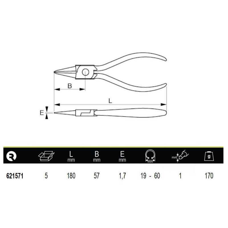 Alicate Recto Para Anillos Interiores 19-60mm Irimo 621571