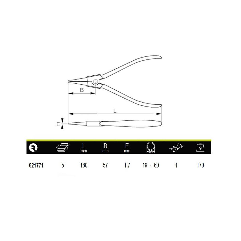 Alicate Recto Para Anillos Exteriores 19-60mm Irimo 621771