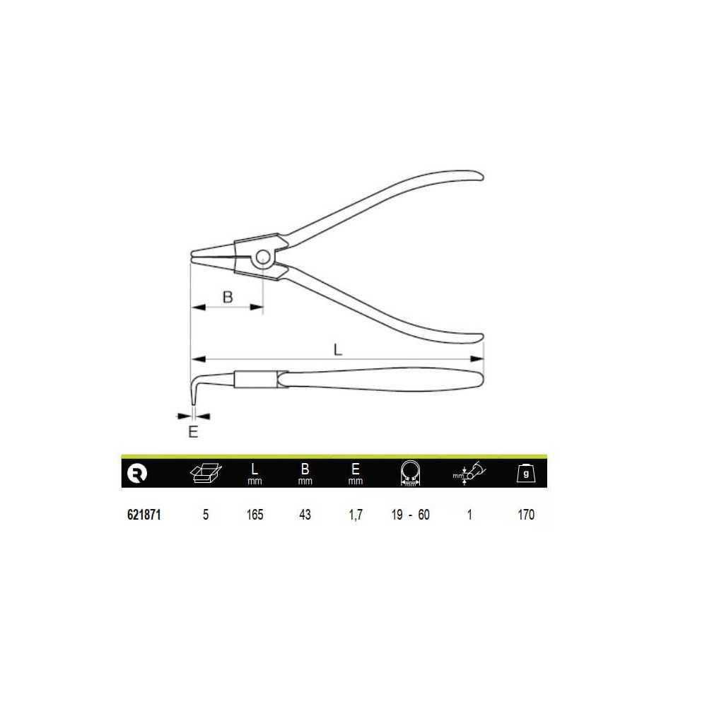 Alicate Curvo Para Anillos Exteriores 19-60mm Irimo 621871
