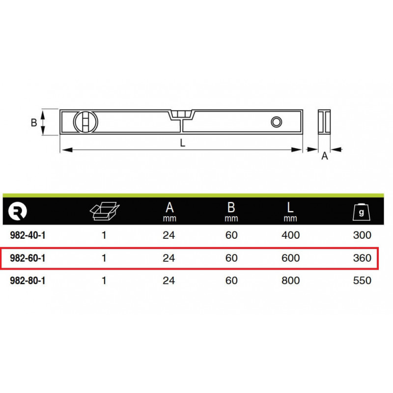 Nivel De Aluminio Profesonal 60 cm. Irimo 982-60-1