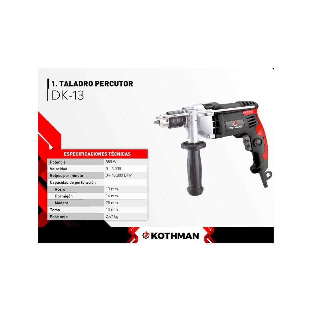 Taladro Percutor 850W 13 mm Kothman DK-13