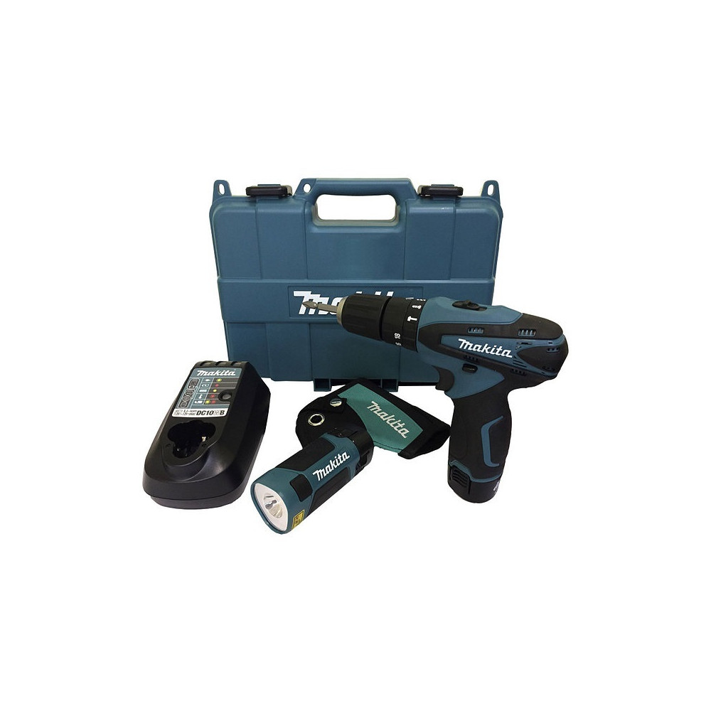 Taladro-Atornillador C/Percusión 10mm - 2 vel variable 30 Nm + 2 bat + cargador + Linterna Makita HP330DWLE