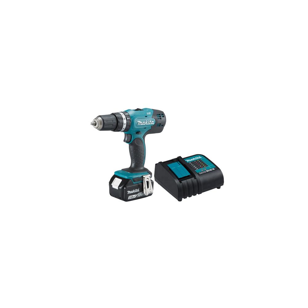 Taladro Atornillador Percutor Inalámbrico 13mm + 1 Batería 18V 3.0 Ah + Cargador DC18SD Makita DHP453SFX8