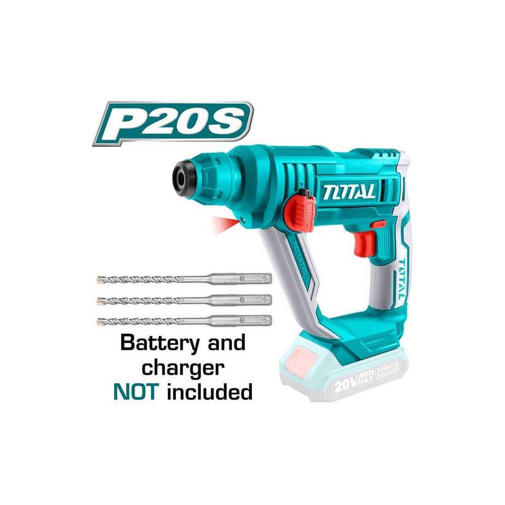 Rotomartillo Inalámbrico SDS-Plus 20V 1.5J Sin Batería ni Cargador Total Tools TRHLI1601