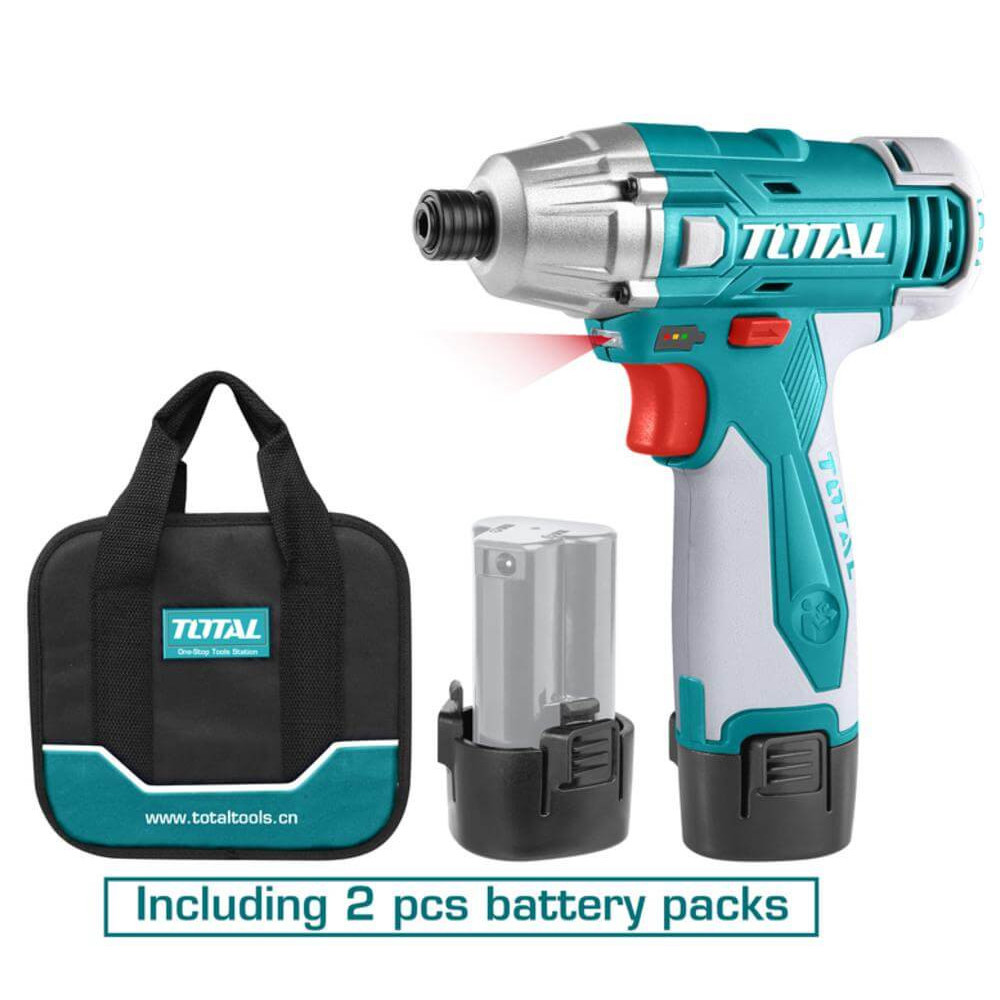 Atornillador de Impacto Inalámbrico 10MM 12V 100NM + 2 Baterías Li - ion / 1.5Ah Total Tools TIDLI228121