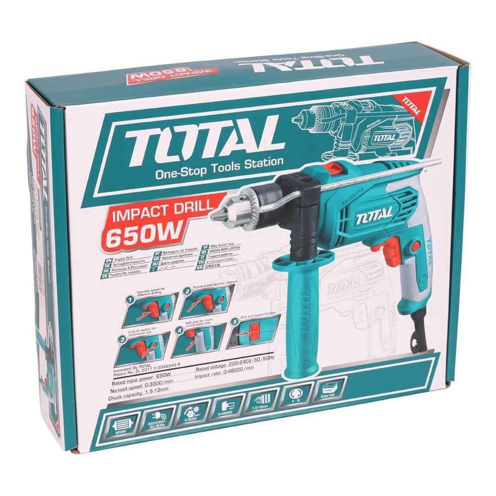 Taladro Percutor 13mm 650W 3.000 rpm Total Tools TG1061336