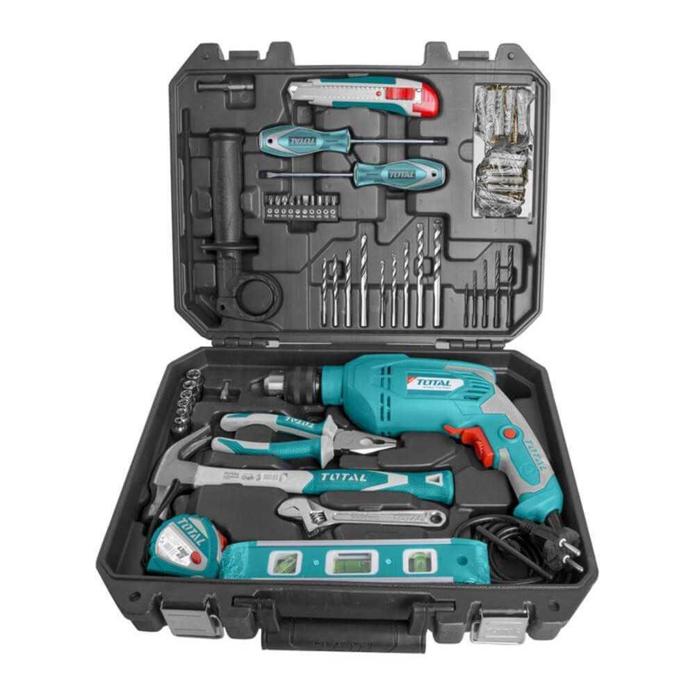 Taladro Percutor 13mm 650W + 101 Accesorios + Maletín Total Tools THKTHP1012