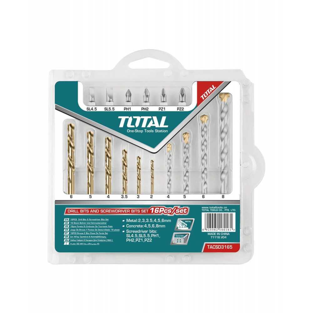 Set Brocas y Puntas de Destornillador 16 Unidades Total Tools TACSD3165