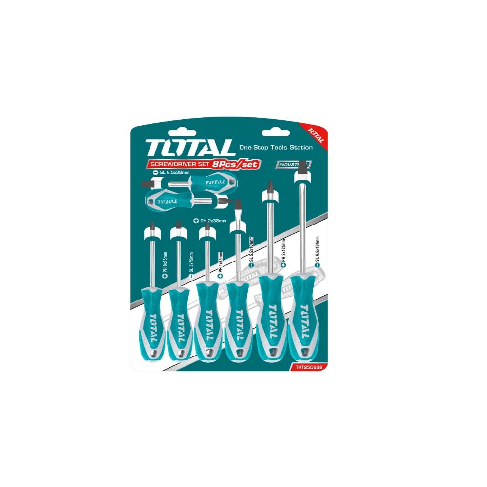Juego de Destornilladores 8 Unidades Total Tools THT250608