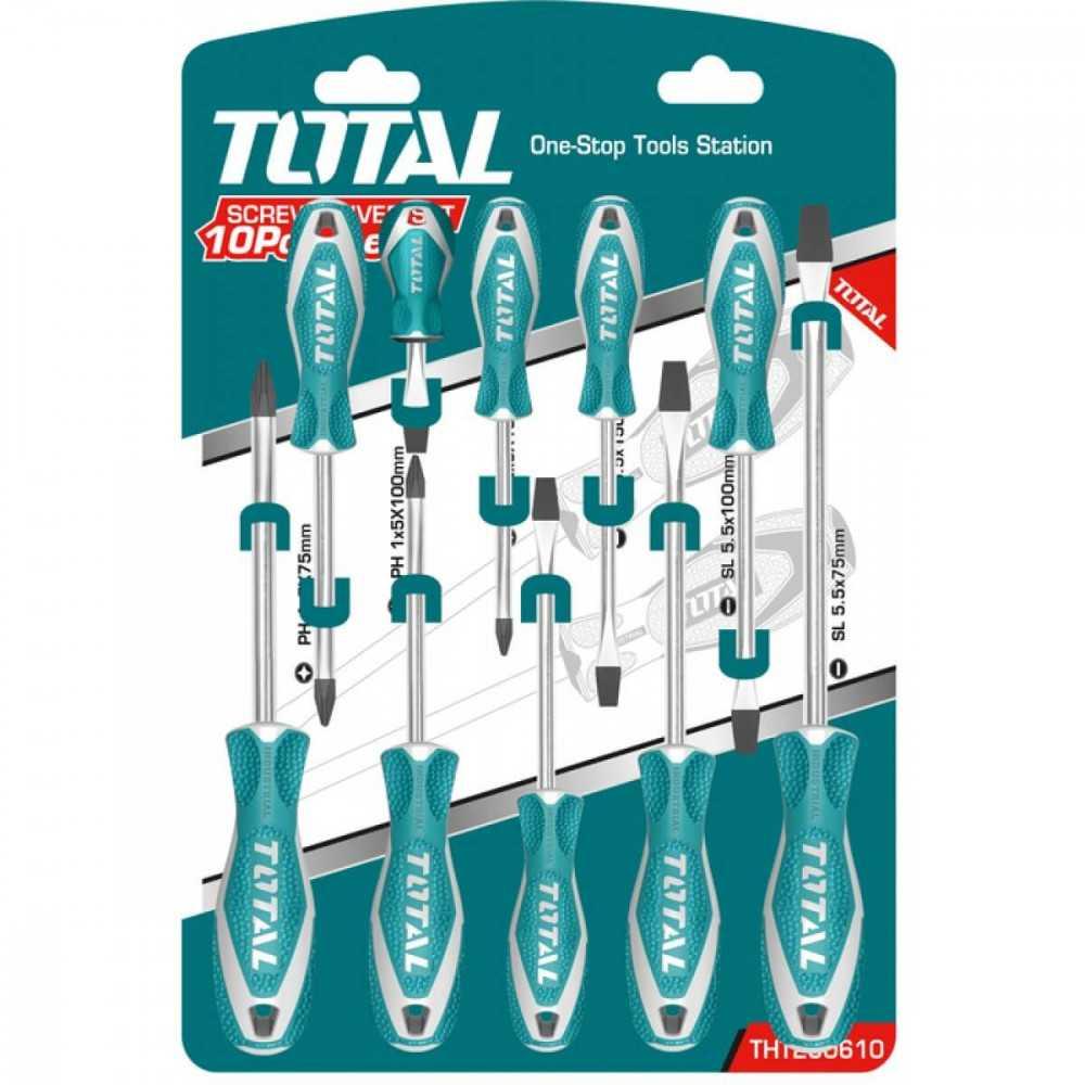 Juego de Destornilladores 10 Unidades Total Tools THT250610
