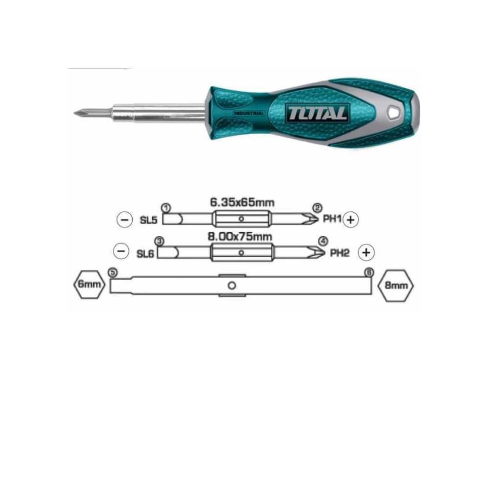Juego de Destornilladores 6 en 1 Total Tools THT2506076