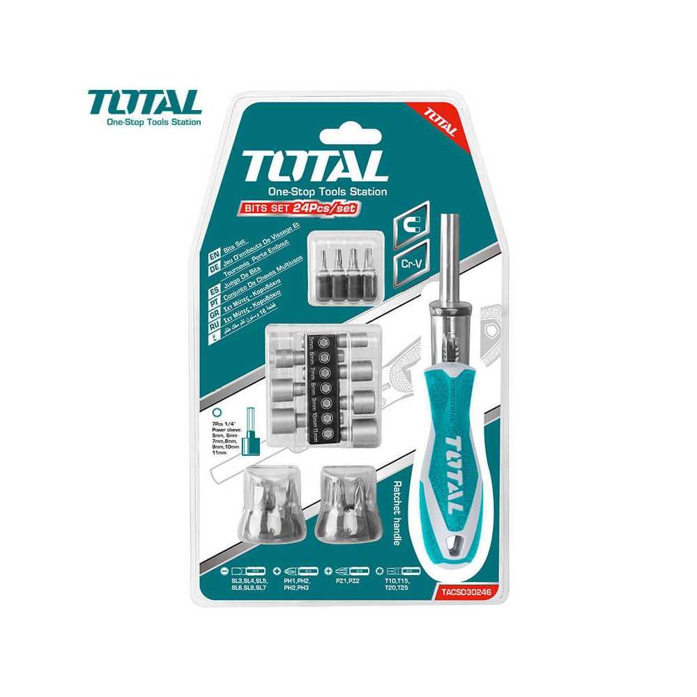 Juego de Destornilladores Y Dado 24 en 1 Pieza Total Tools TACSD30246