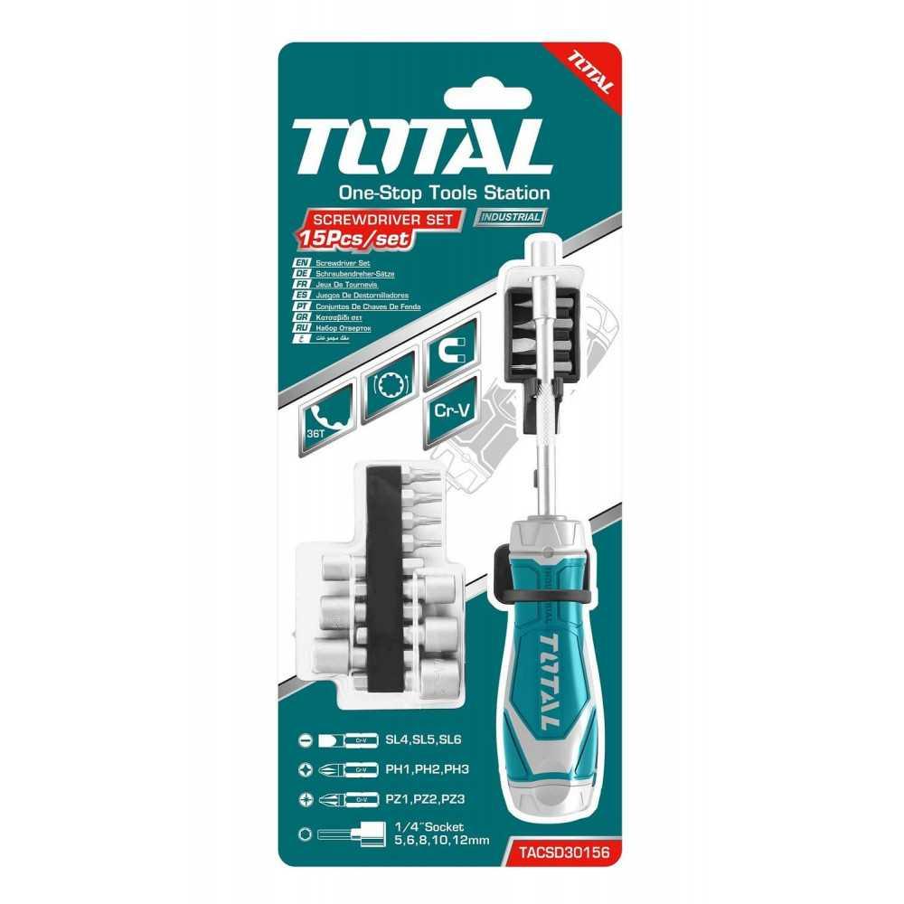 Juego de Destornilladores 15 en 1 Industrial Total Tools TACSD30156