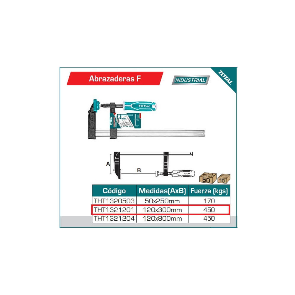 Prensa 120 x 300 mm 450 kg Total Tools THT1321201