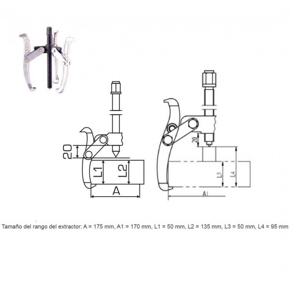 """Extractor de Rodamiento De 3 Puntas 6"""" 6000KG Total Tools THTGP366"""
