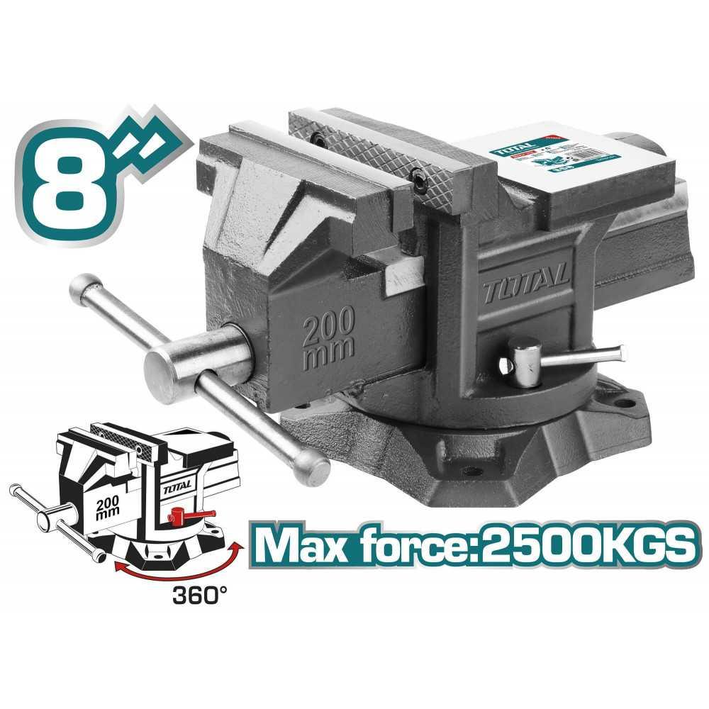 "Tornillo de Banco Tipo C 8"" 2500 Kgs Base Giratoria Total Tools THT6186"