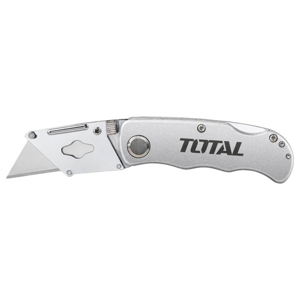 Cuchillo Cartonero Plegable 19mm x 61mm con 5 pzs de cuchillas Total Tools THT513613