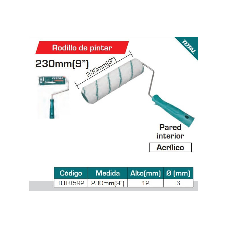 "Rodillo Para Interior 23 cm (9"") Total Tools THT8592"