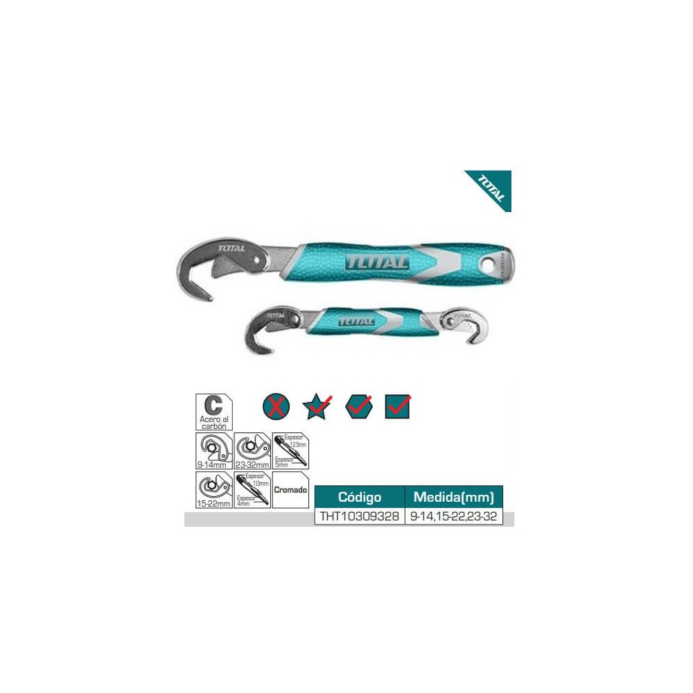 Juego de Llaves Pico de Loro 2 Piezas 9 - 32 mm Total Tools THT10309328