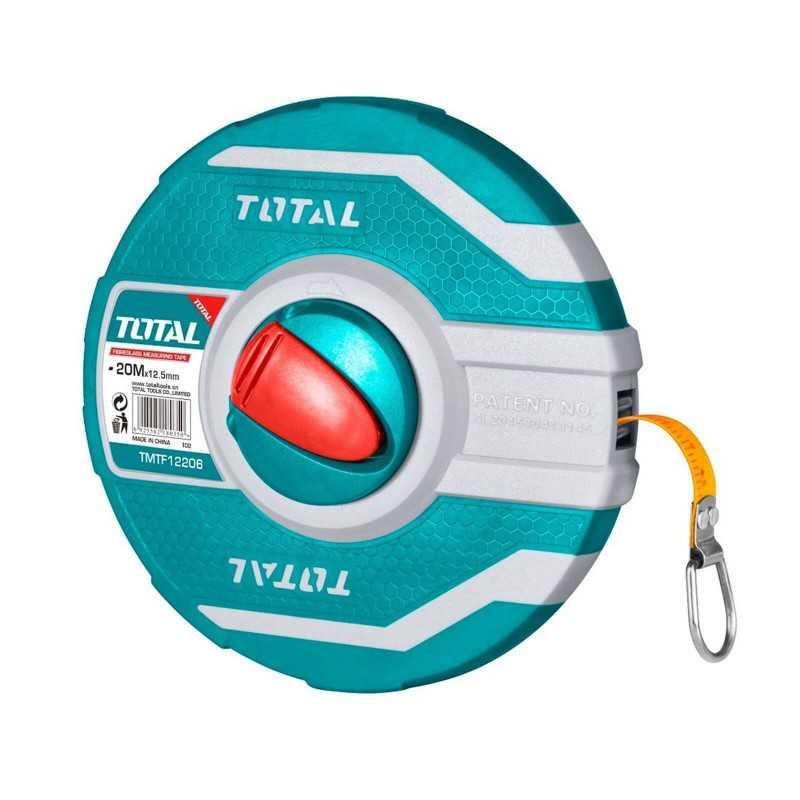 Huincha de Medir De Fibra De Vidrio 20MT x 12.5MM Total Tools TMTF12206