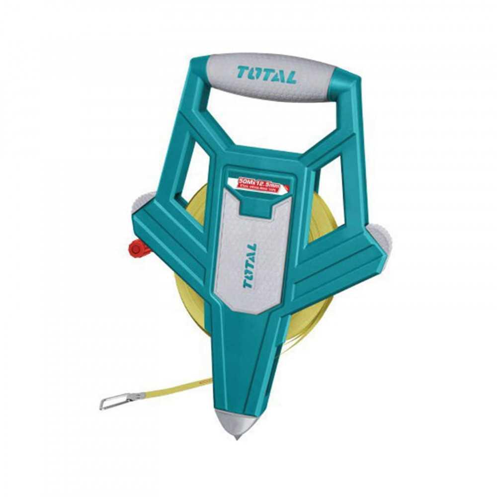 Huincha de Medir De Fibra De Vidrio 50MT x 12.5MM Mango Ergonómico Total Tools TMTF12506