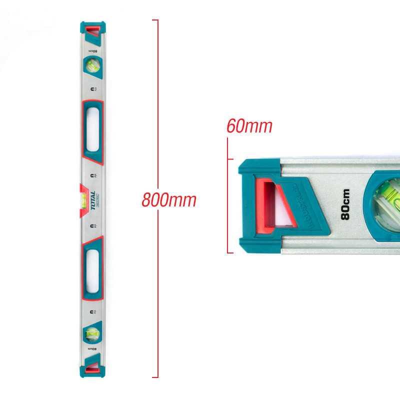 Nivel De Aluminio 3 Aguas Con Imán 80 CM Total Tools TMT20805M