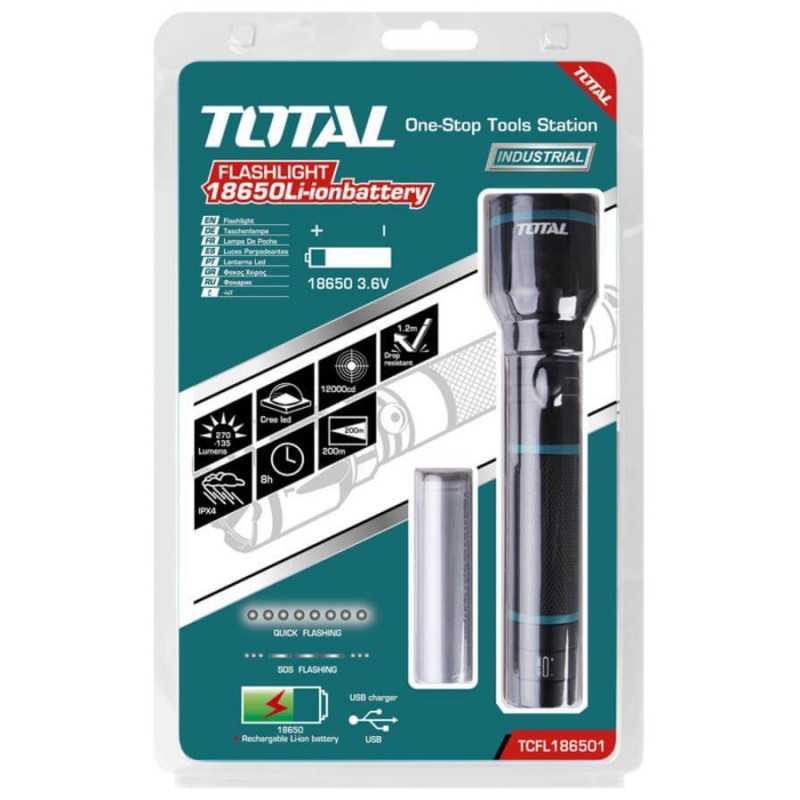 Linterna Recargable Led 5 W - Bateria LI-ION Total Tools TCFL186501