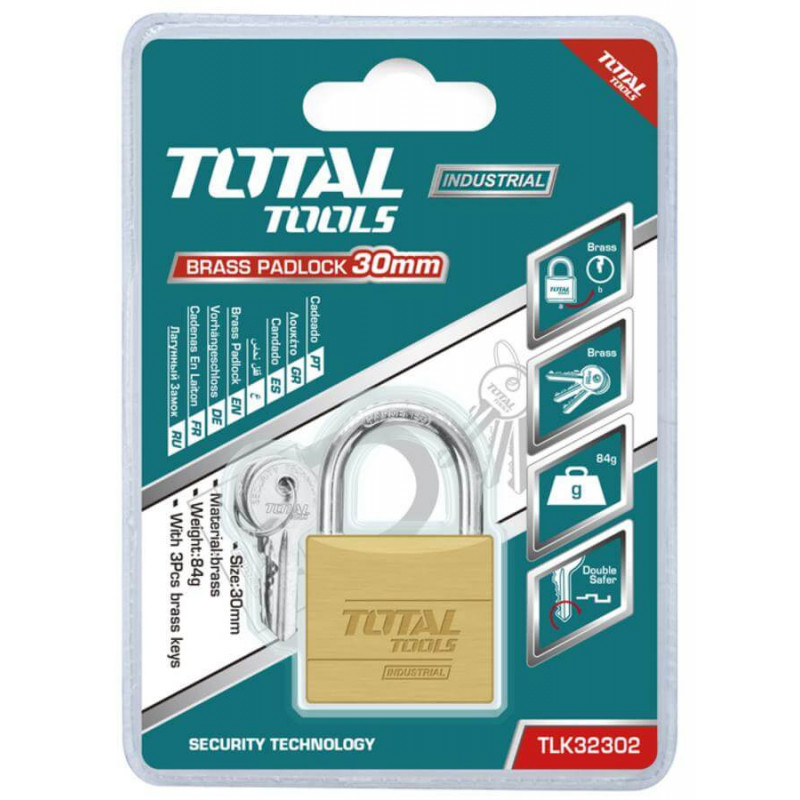 Candado 30 MM Con 3 Llaves Total Tools TLK32302